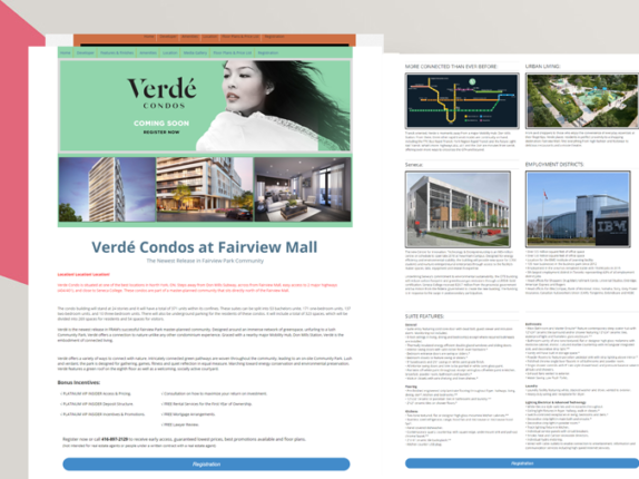 Landing Page Development for Real Estate, Verde Condos, Toronto